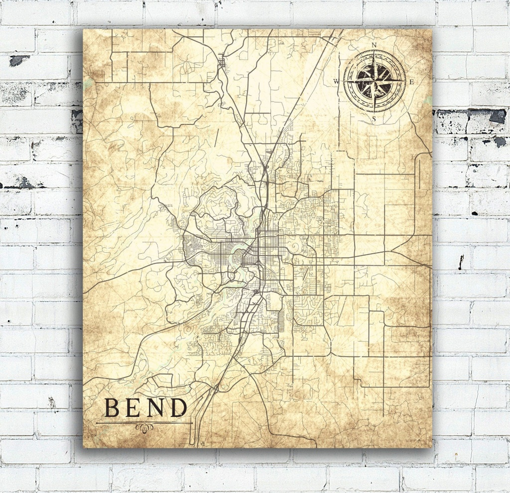 Bend Or Canvas Print Oregon Vintage Map Bend Or City Vintage Map - Printable Map Of Bend Or