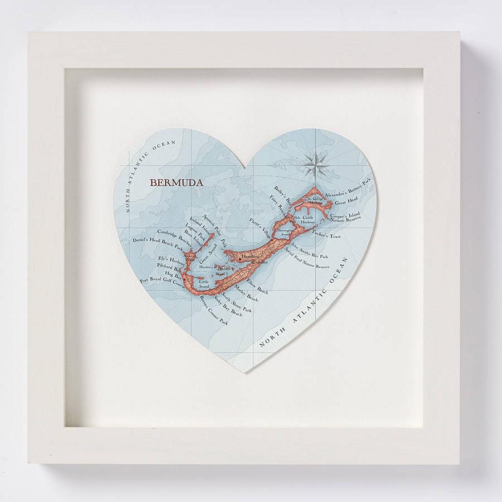 Bermuda Map Heart Printbombus Off The Peg   Notonthehighstreet - Printable Map Of Bermuda