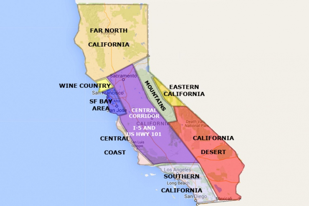 Best California Statearea And Regions Map - Beach Map Of California