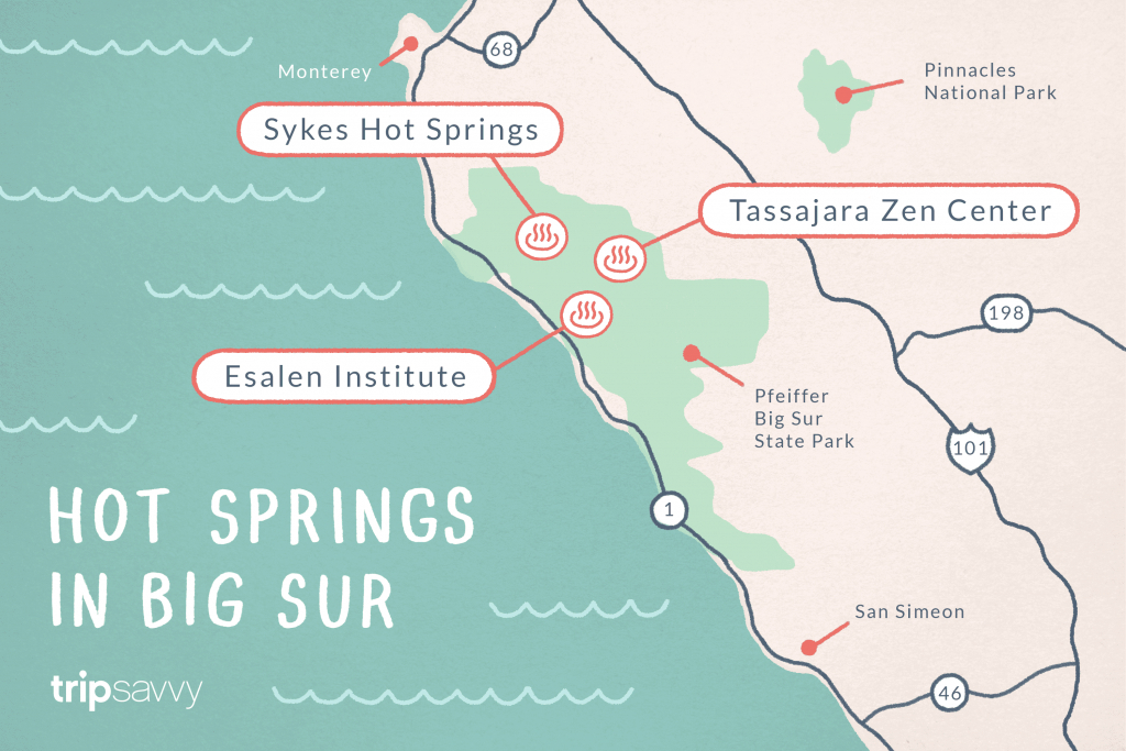 Big Sur Hot Springs - Top Natural Hot Tubs On The Coast - Natural Hot Springs California Map
