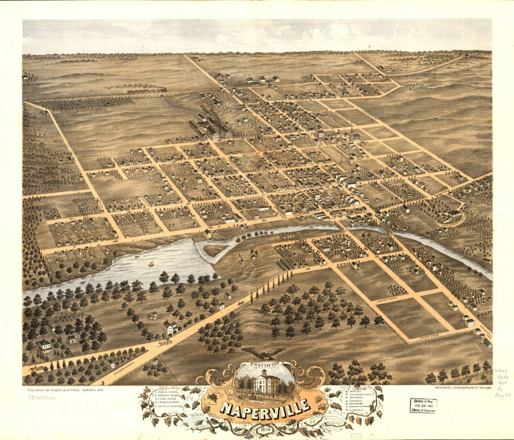 Bird's Eye View Of Naperville, Dupage County, Illinois 1869 - Printable Map Of Naperville Il
