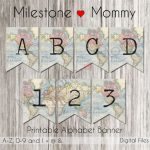 Birthday Banner Map, Travel Party Banner, Printable Banner Alphabet   Printable Map Banner