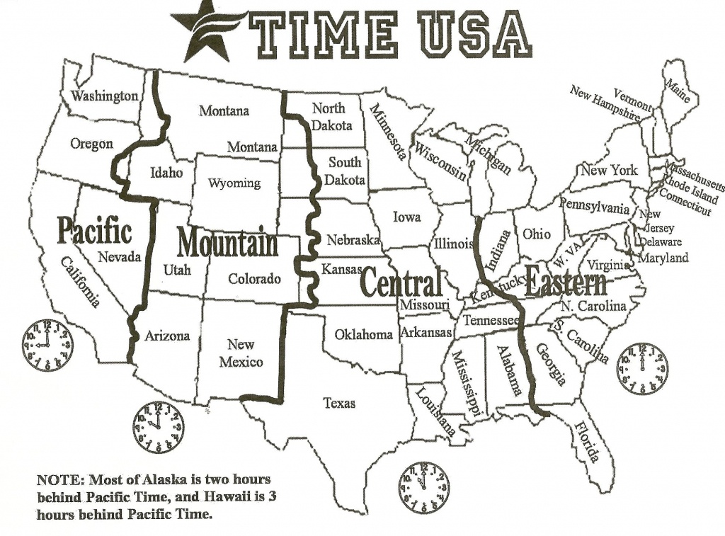 Black And White Us Time Zone Map - Google Search | Social Studies - Maps With Time Zones Printable