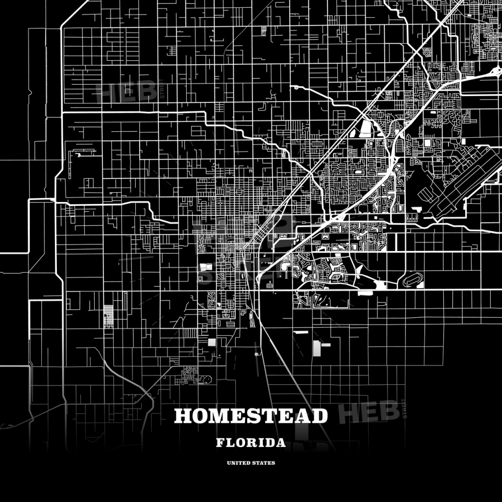 Black Map Poster Template Of Homestead, Florida, Usa | Hebstreits - Homestead Florida Map