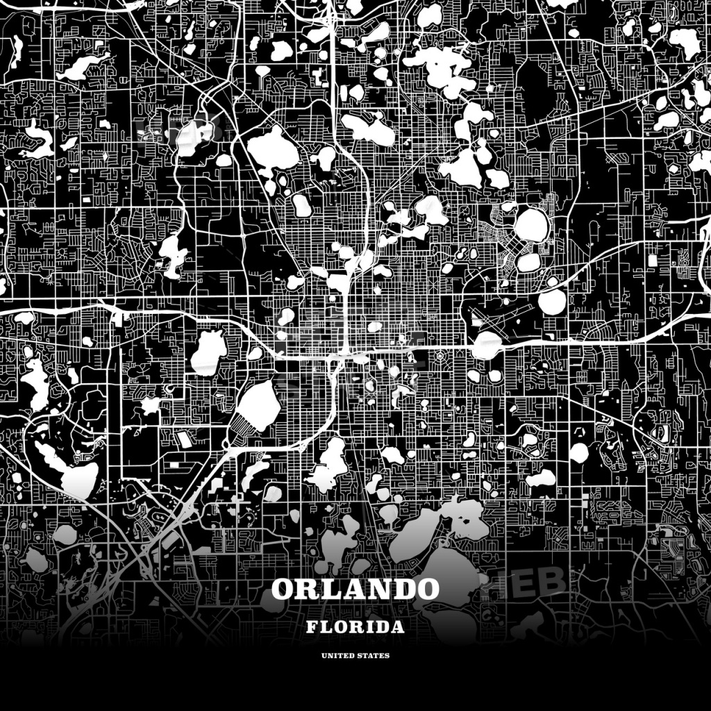 Black Map Poster Template Of Orlando, Florida, Usa | Hebstreits Sketches - Florida Map Poster