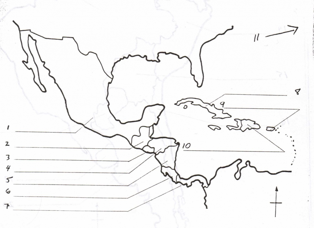 Blank Map Of Central America And Caribbean Islands - America Map - Central America Map Quiz Printable