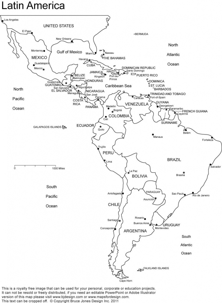 Blank Map Of Central And South America Printable And Travel - Blank Map Of Central And South America Printable