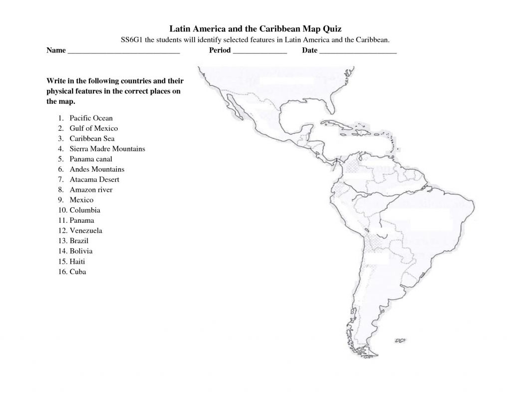 Blank Map Of Latin America Quiz Free Printable South Puzzle 1024×791 - Us Map Quiz Printable Free