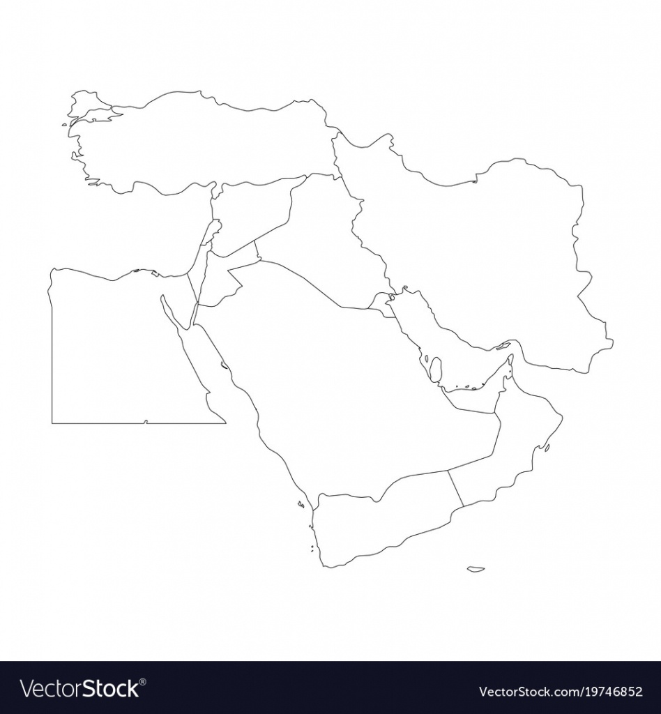 Blank Map Of Middle East Or Near East Simple Vector Image - Middle East Outline Map Printable