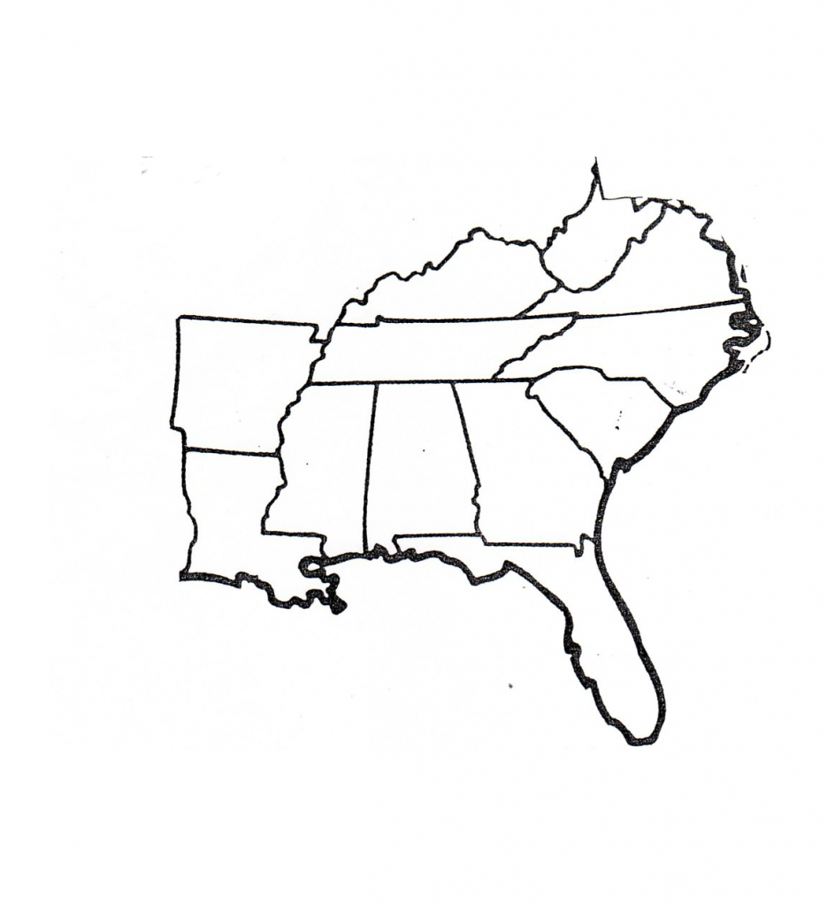 Blank Map Of Southeast Region Within Us | Map | States, Capitals - Southeast States Map Printable