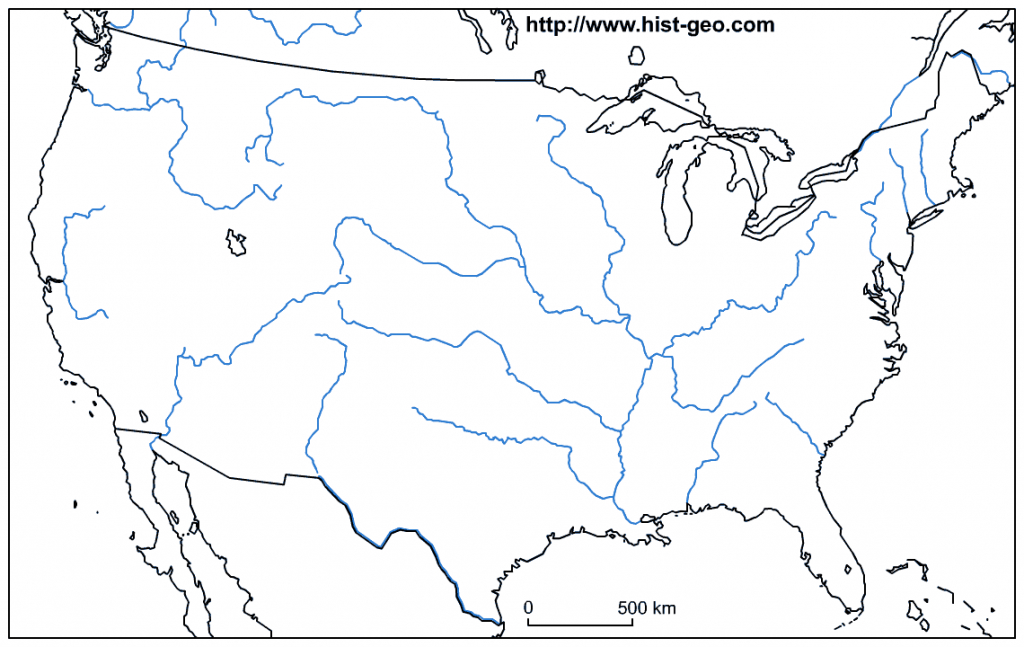 Blank Map Of The Main Rivers Of The Usa - Us Rivers Map Printable