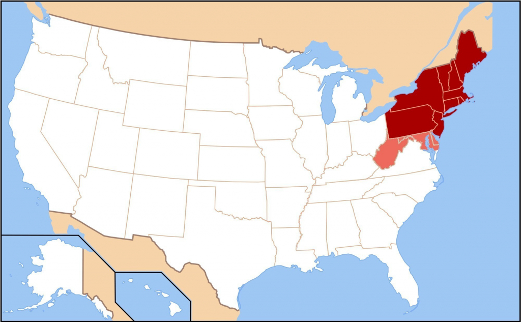 Blank Map Of The Northeast | Sitedesignco - Printable Map Of North Eastern United States