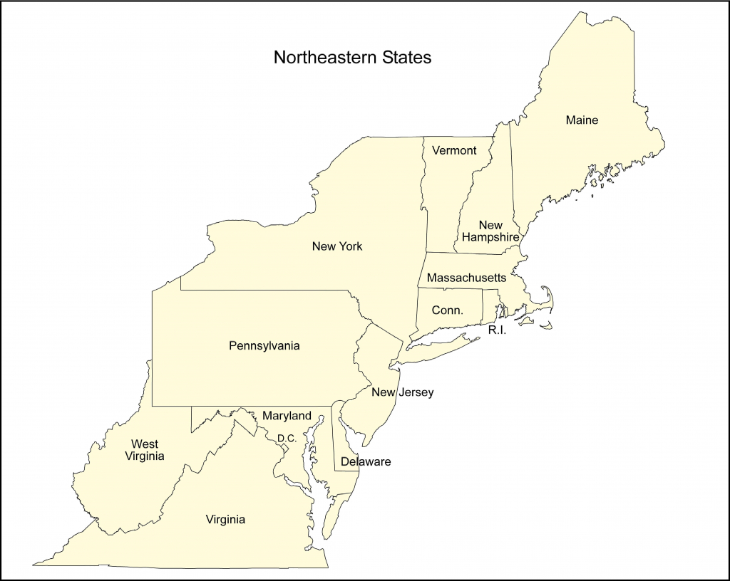 Blank Map Of The Northeast | Sitedesignco - Printable Map Of The Northeast