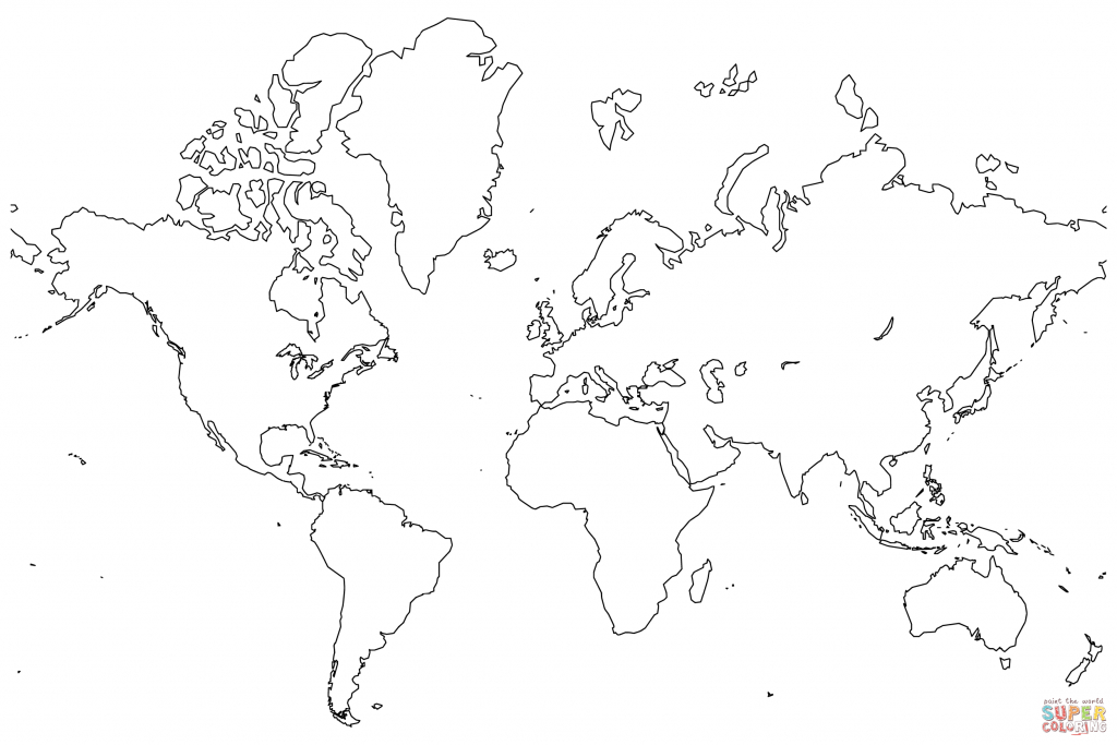 Blank Map Of The World Coloring Page | Free Printable Coloring Pages - World Map Printable Color
