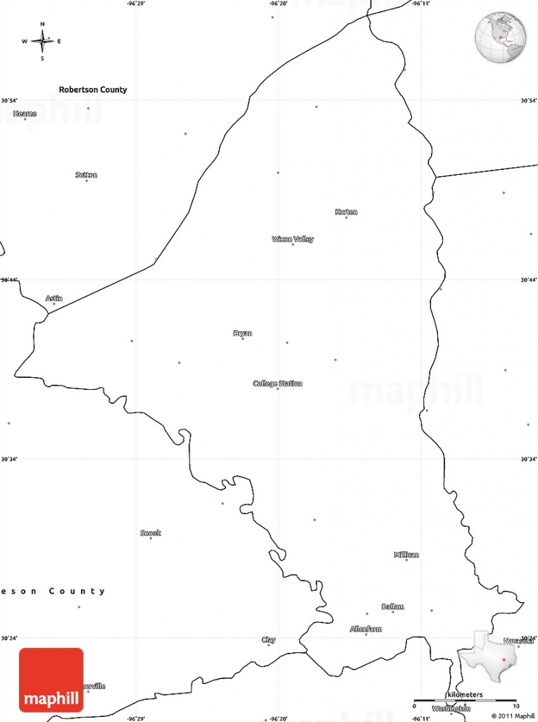 Blank Simple Map Of Brazos County - Brazos County Texas Map