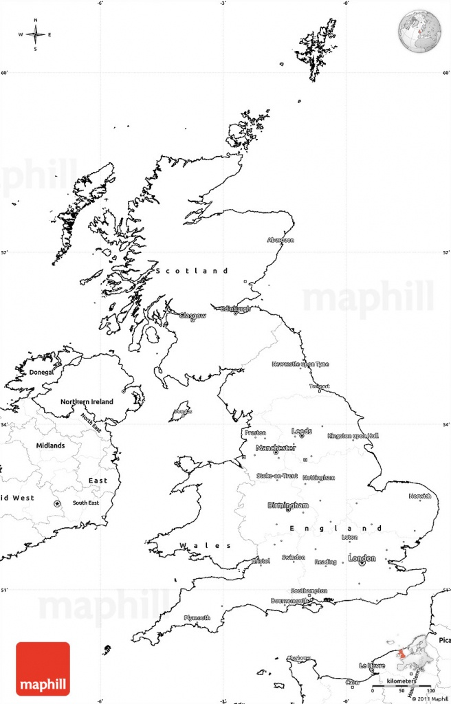 Blank Simple Map Of United Kingdom - Free Printable Map Of England