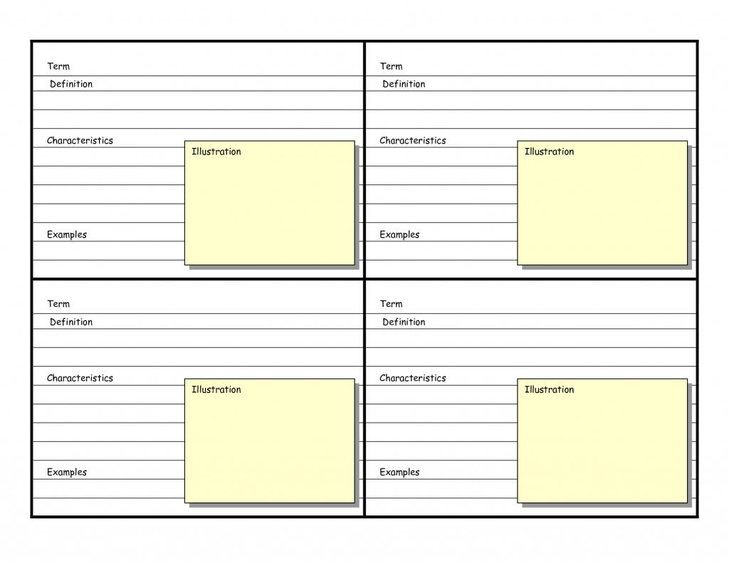 Blank Vocabulary Card Template | Frayer Models | Vocabulary Cards - Vocabulary Maps Printable Free