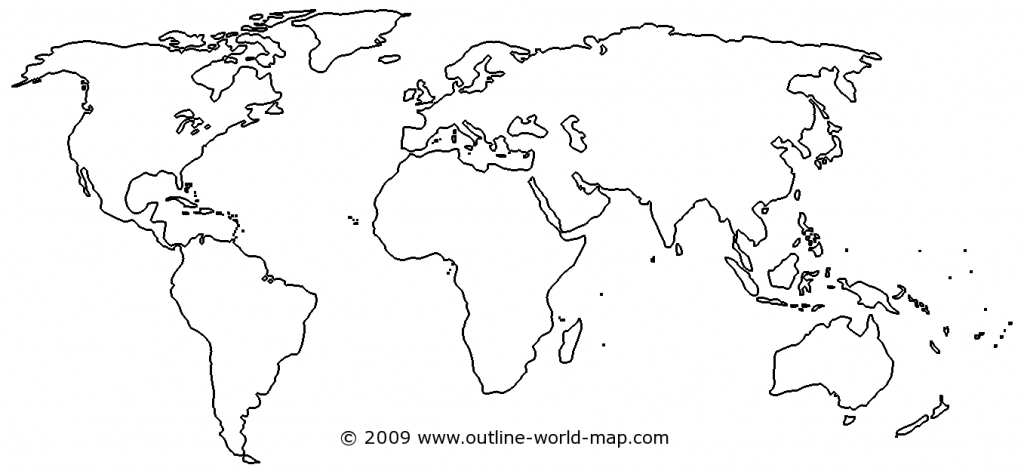 Blank World Map Image With White Areas And Thick Borders - B3C | Ecc - Free Printable World Map Outline