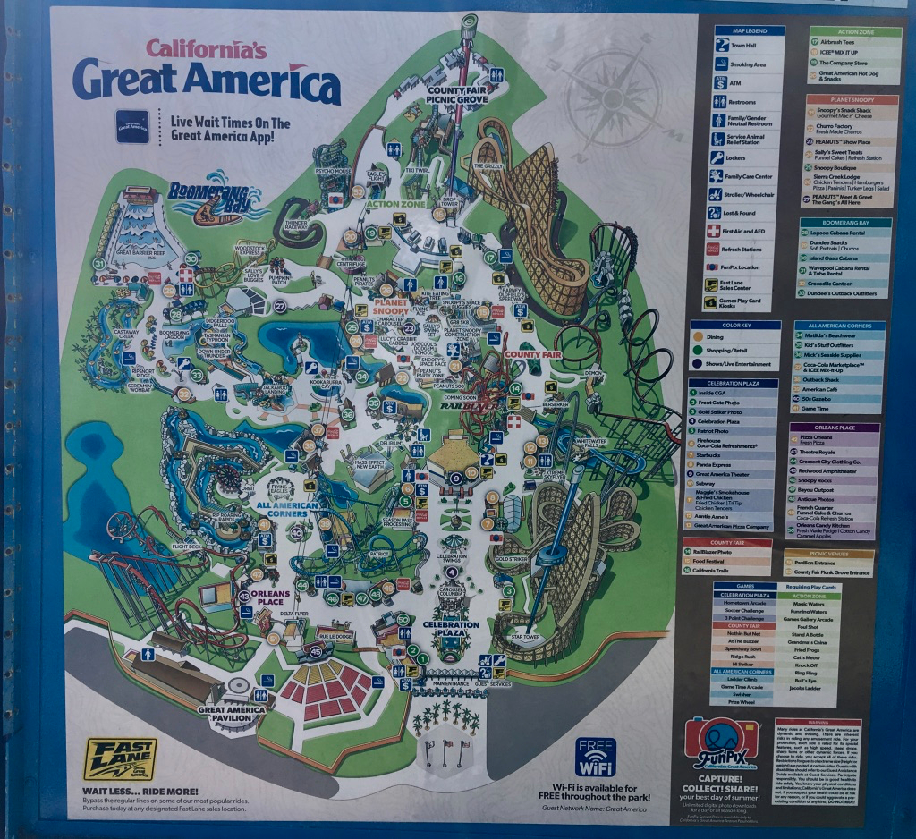 Boomerang Bay Great America Map | Ikwileenprentenboek - California's Great America Map 2018