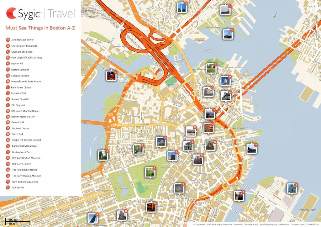Boston Printable Tourist Map | Sygic Travel - Printable Map Of Downtown Boston