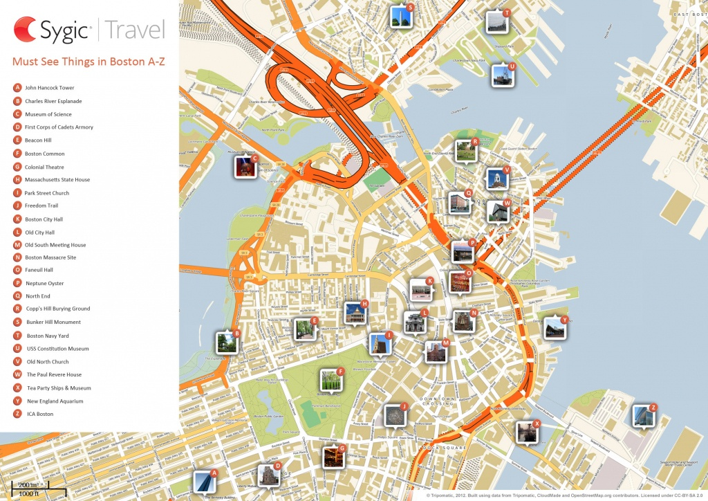 Boston Printable Tourist Map | Sygic Travel - Printable Map Of Downtown Chicago Attractions