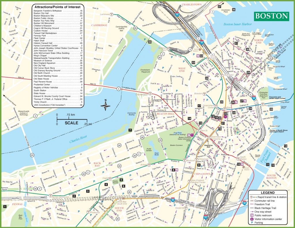 Boston Tourist Attractions Map - Printable Map Of Boston
