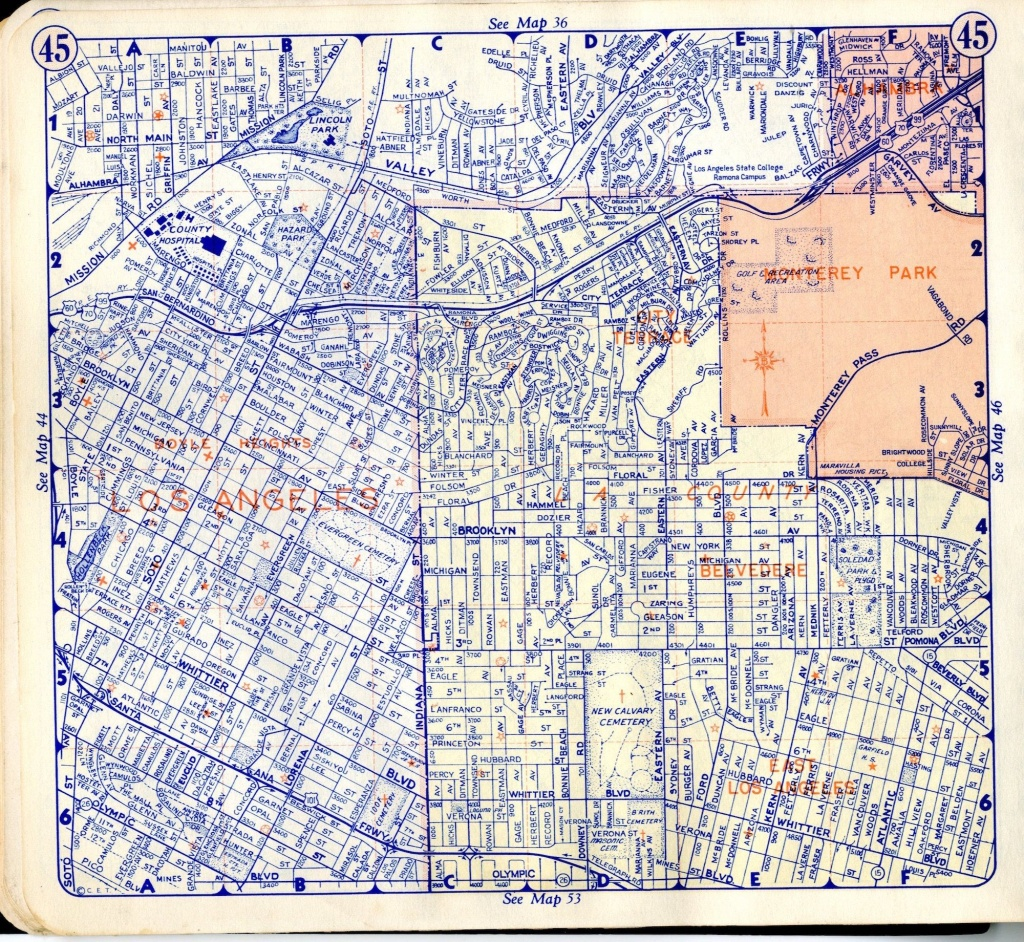 Boyle Heights - Here Is A Simple Street Map, Taken From A 1950 - Thomas Guide Southern California Arterial Map