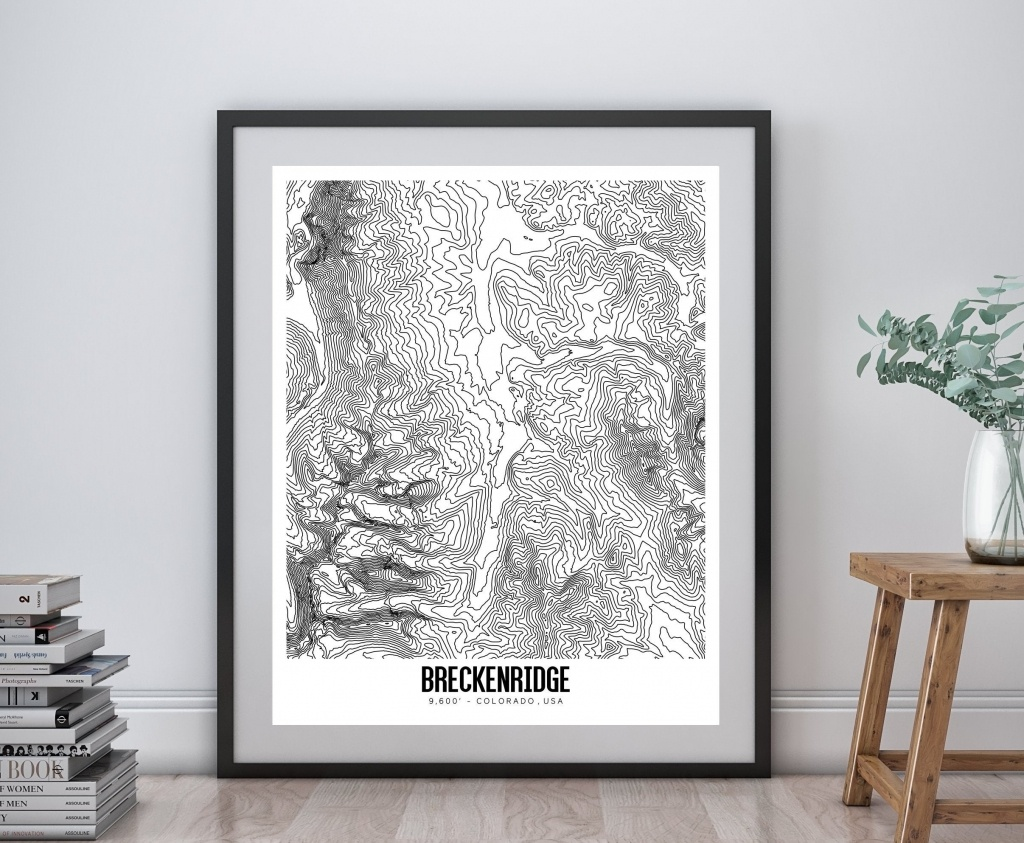 Breckenridge Printable Topographic Map 16X20 Breckenridge | Etsy - Printable Topographic Map