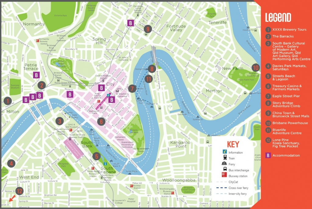 Brisbane Maps | Australia | Maps Of Brisbane - Brisbane Cbd Map Printable