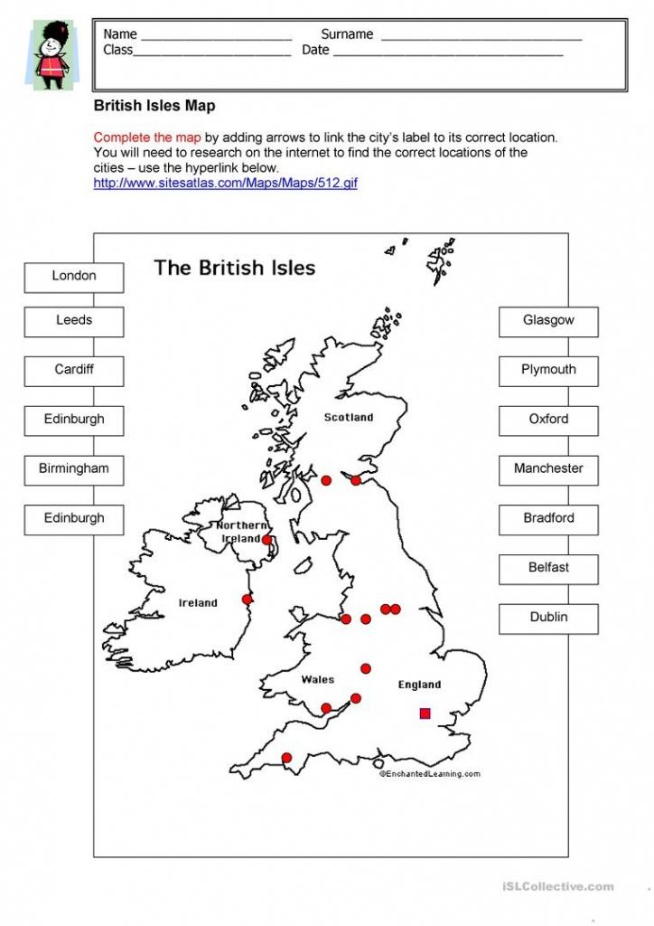 British Isles Map Worksheet - Free Esl Printable Worksheets Made - Free Printable Map Activities