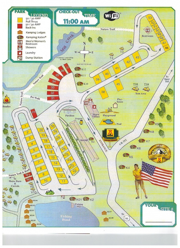 Brookeland, Texas Campground | Brookeland / Lake Sam Rayburn Koa - Texas Campgrounds Map