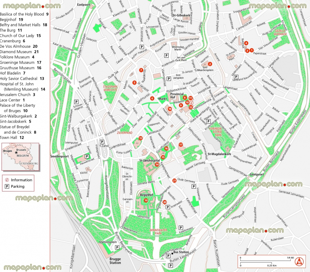 Bruges Map - Updated Attractions Map In English Showing Location Of - Bruges Map Printable
