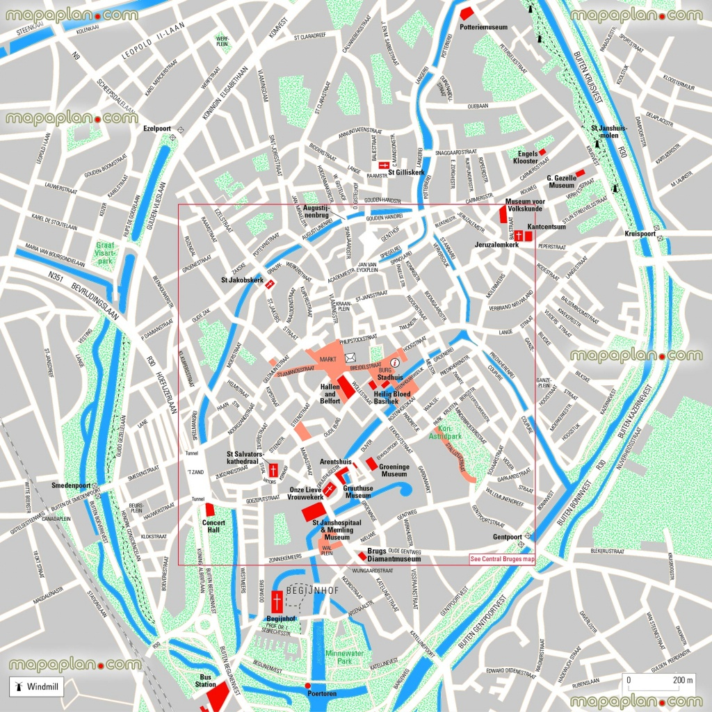 Bruges Maps - Top Tourist Attractions - Free, Printable City Street - Printable Street Map Of Bruges
