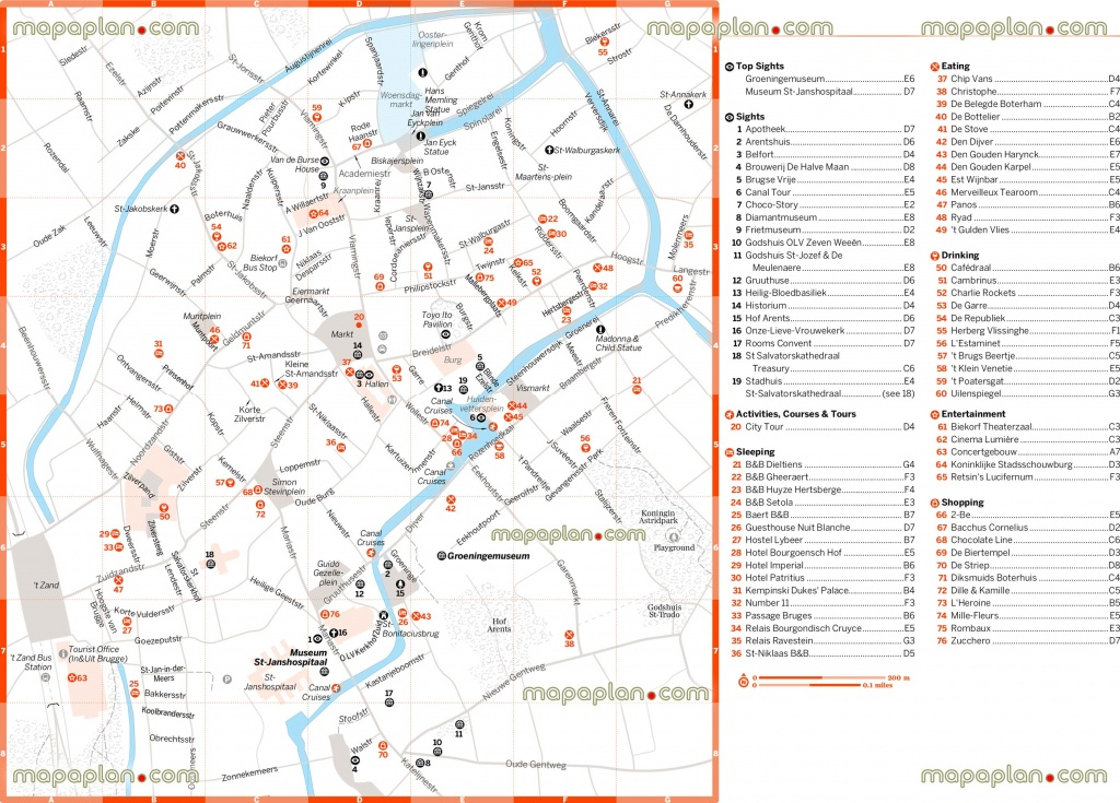 Bruges Tourist Map And Travel Information | Download Free Bruges - Bruges Map Printable