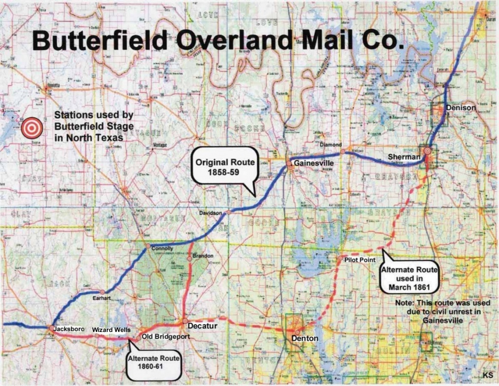 Butterfield Overland Mail Company - Bridgeport Texas Map