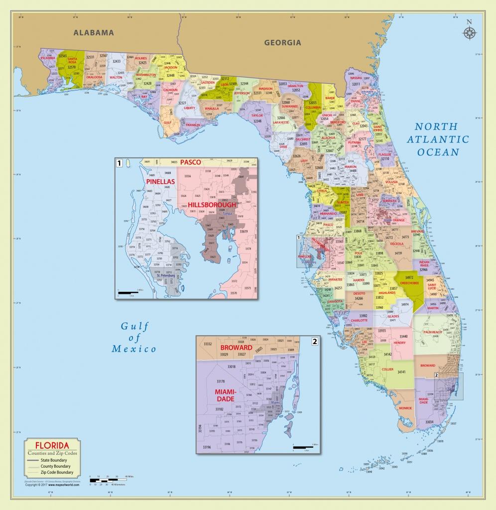 Buy Florida Zip Code With Counties Map - Florida Zip Code Map