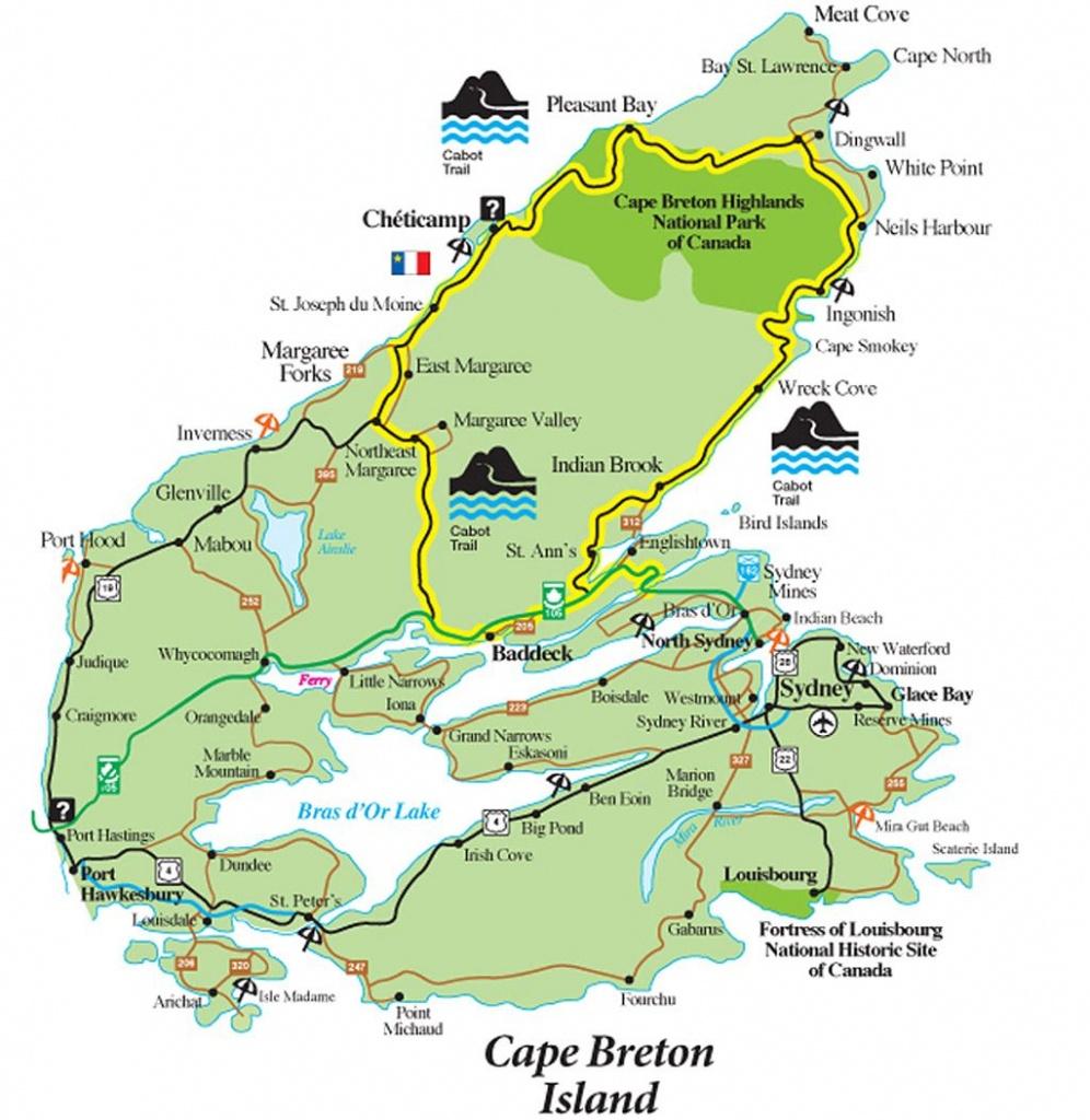 Cabot Trail Map - Cape Breton Island Nova Scotia • Mappery | Travel - Printable Map Of Cape Breton Island