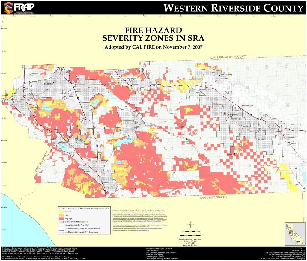 Cal Fire – Riverside County (West) Fhsz Map Inside Map Of Southern - Riverside California Fire Map