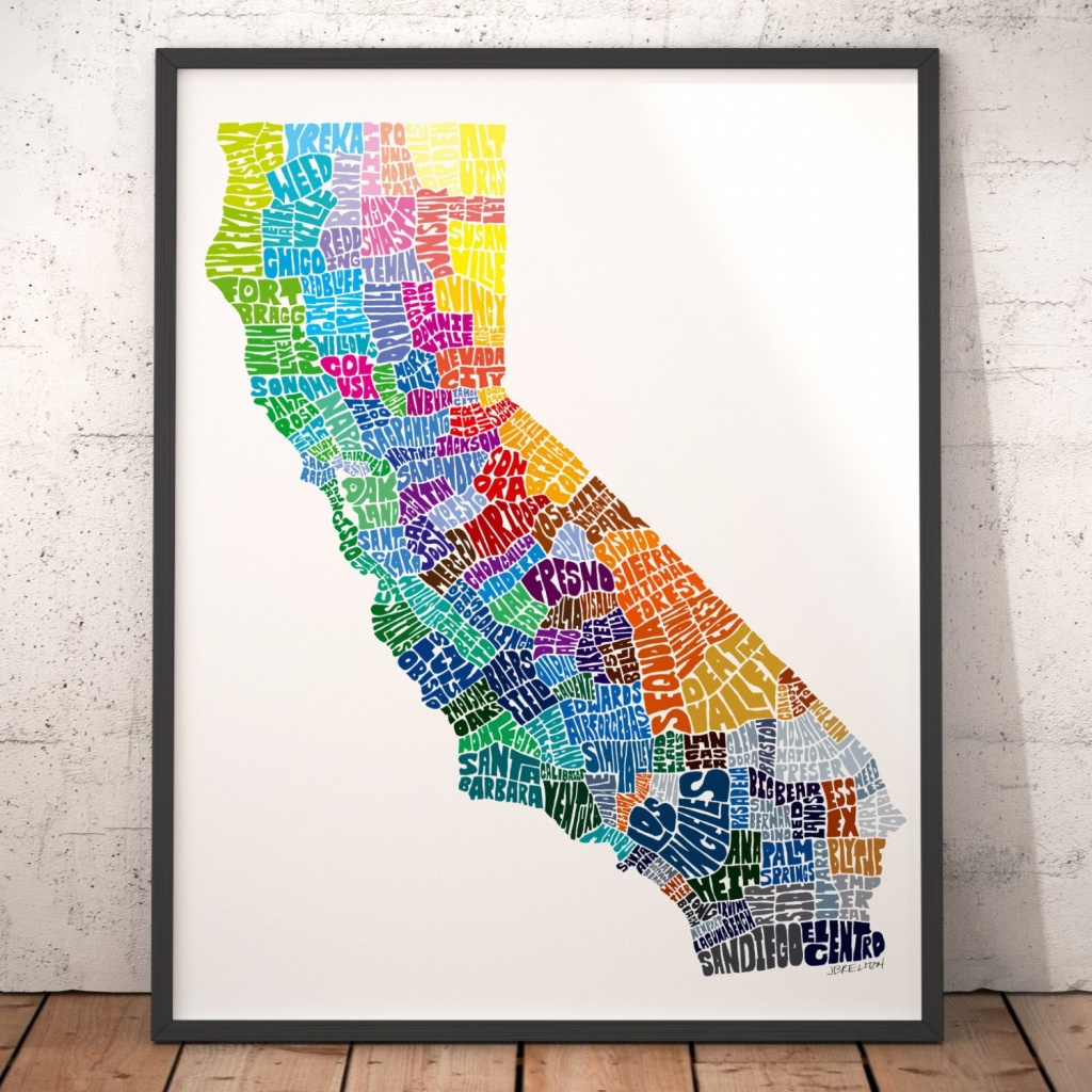 California Art Print California Map Art Signed Print Of My | Etsy - California Map Art