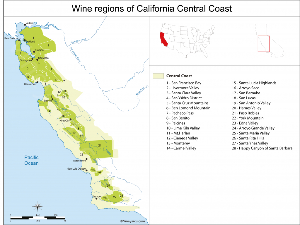 California Central Coast Map Of Vineyards Wine Regions - California Valley Map