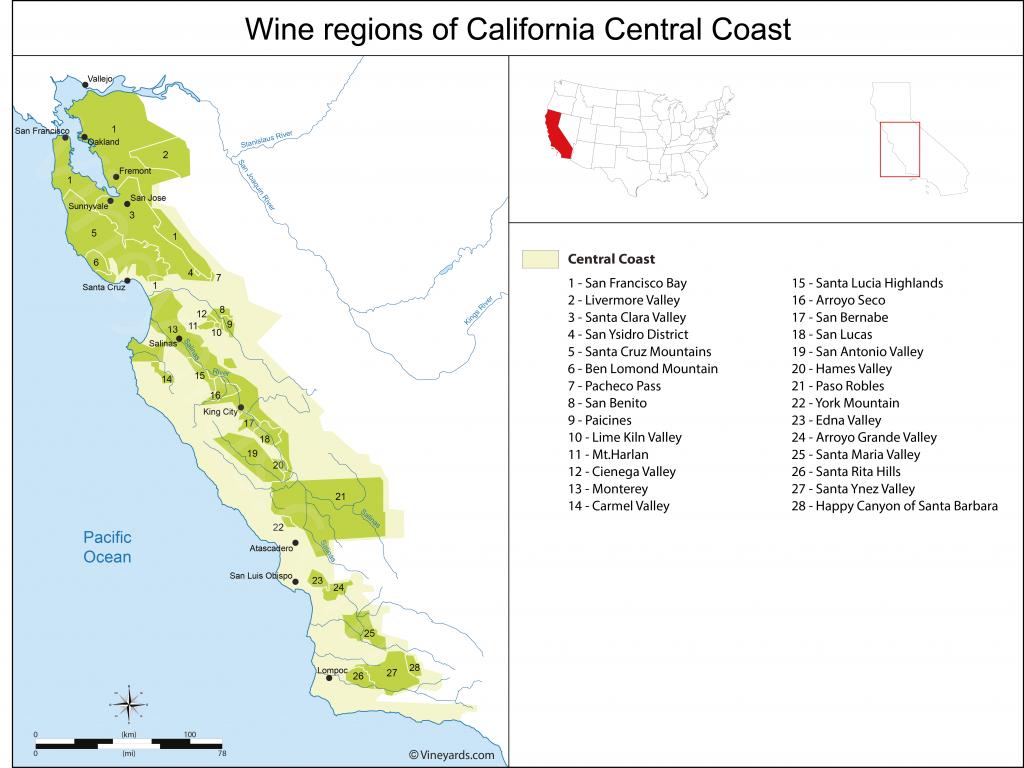 California Central Coast Map Of Vineyards Wine Regions - California Vineyards Map