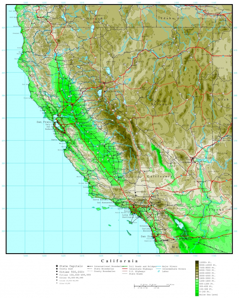 California Elevation Map - Topographic Map Of South Florida