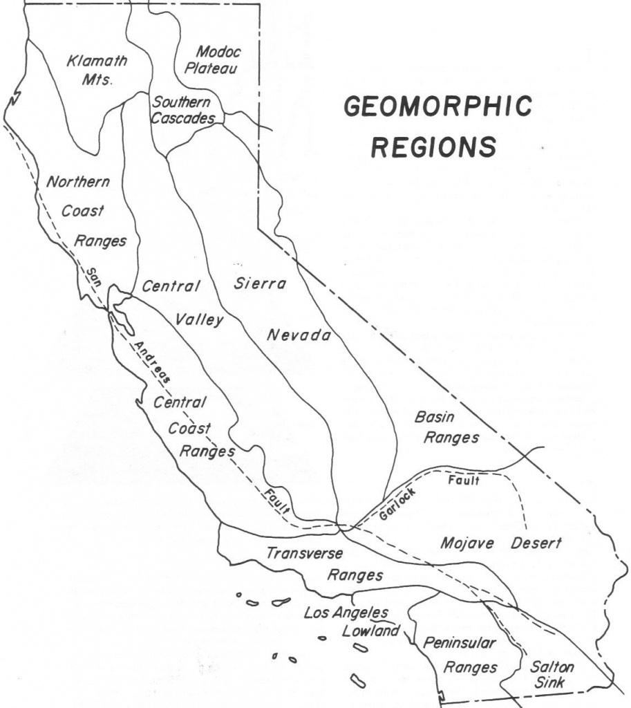 California Geomorphic Regions Map Color Handout Page Map Quiz 1 - California Regions Map Printable