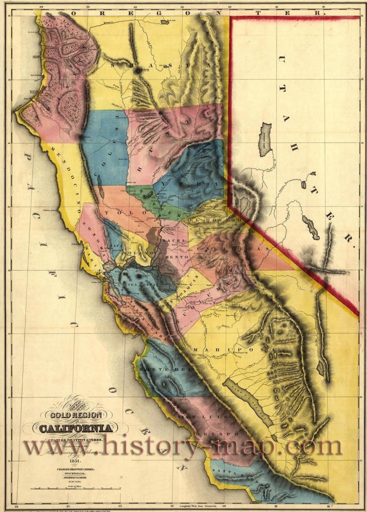 """California Gold Map ~ """"gold Mines And Mining. Gibbes' New Map Of - Gold In California Map"""