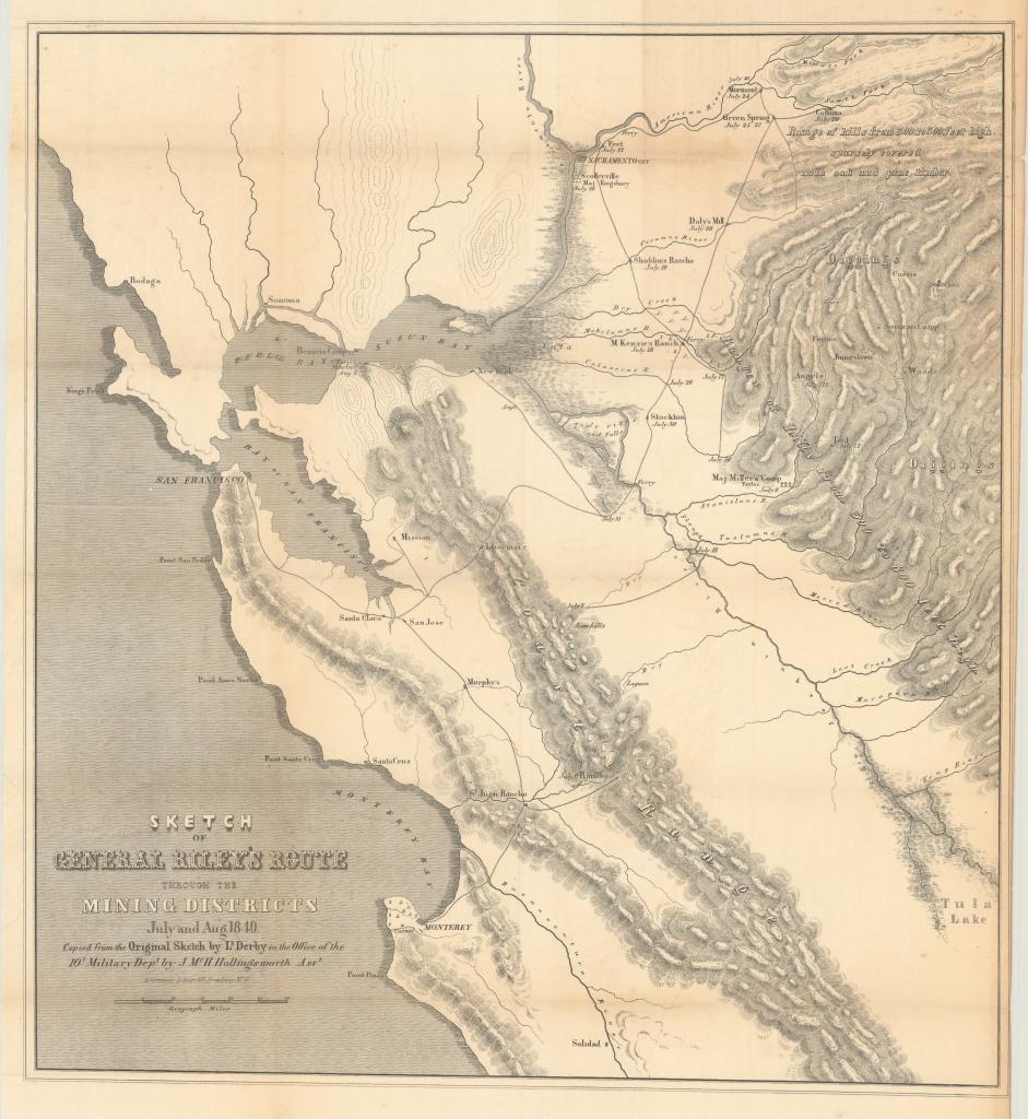 California Gold Rush Map - Philadelphia Print Shop West - Gold In California Map