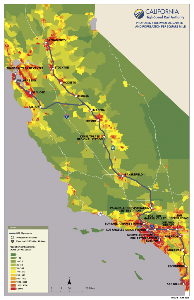 California High Speed Rail Map With Population Per Square Mile - California High Speed Rail Map