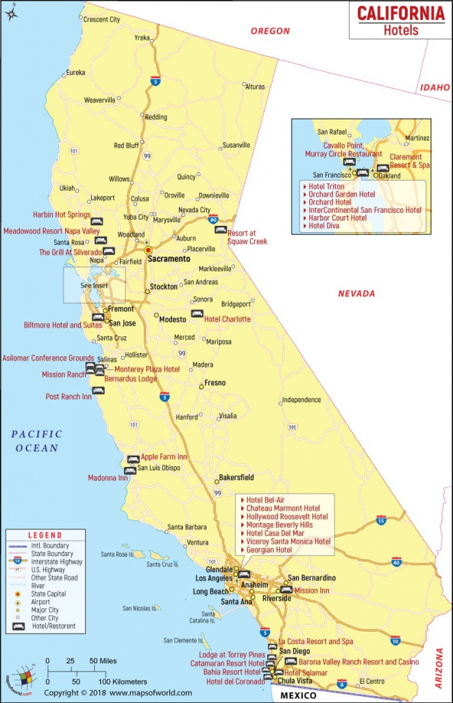California Hotels Map, List Of Hotels In California - California Cities Map List