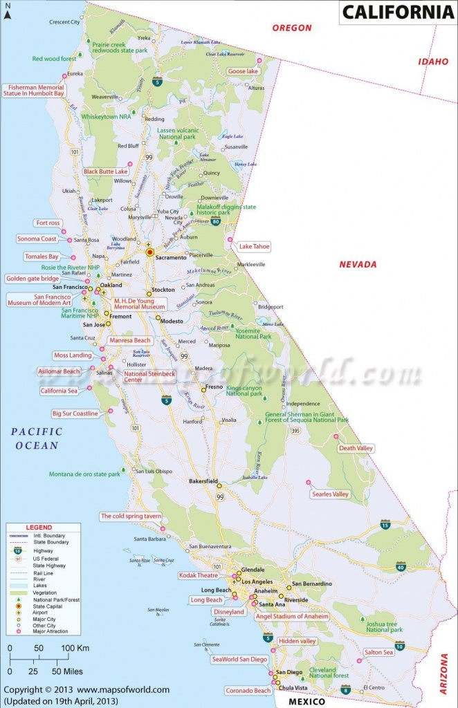 California Map, 3Rd Largest State In The Us Having Area Of 163,696 - Show Map Of California