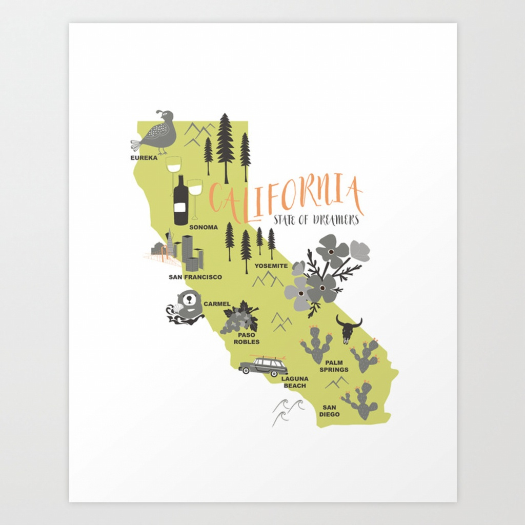 California Map Art Printwillhouse1 | Society6 - California Map Art