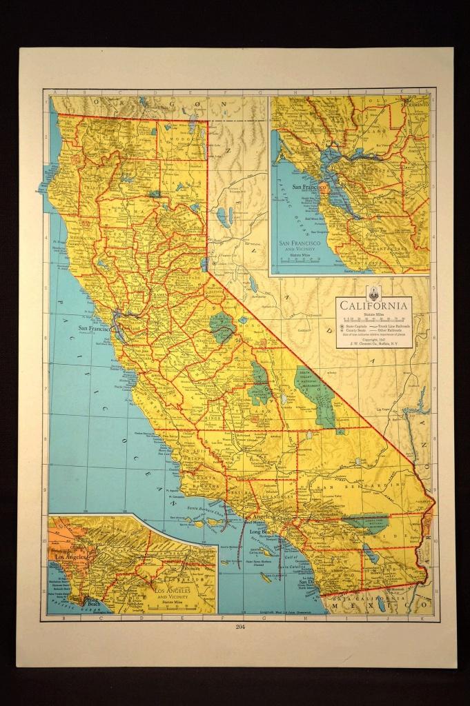 California Map Of California Wall Art Decor Colorful Yellow Vintage - Vintage California Map